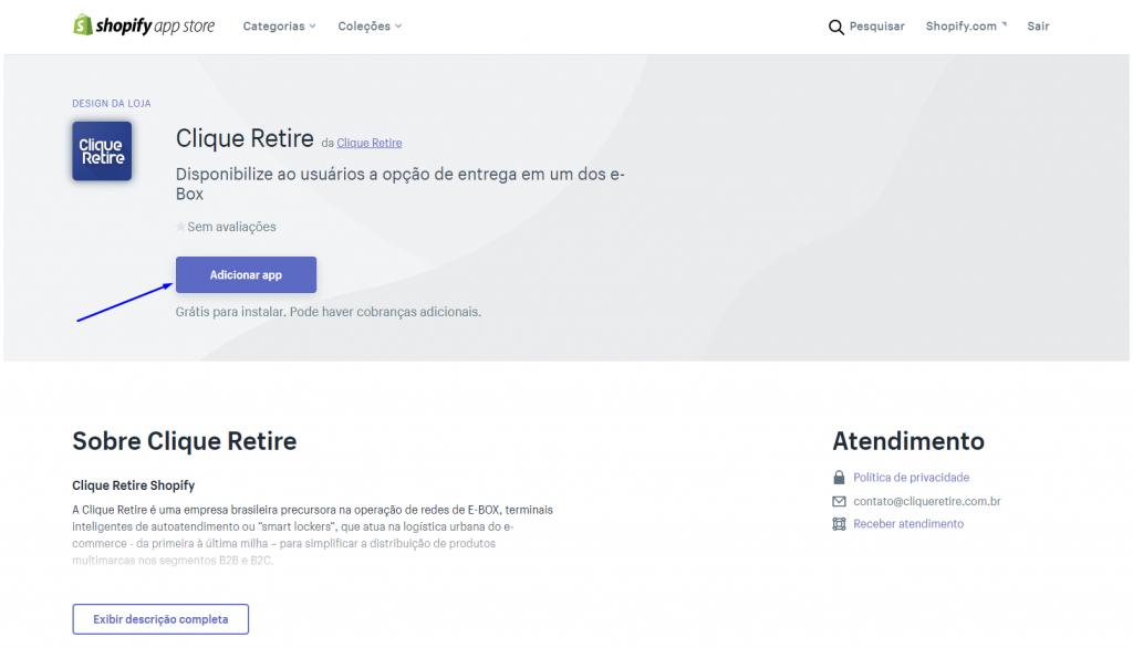 Clique Retire Shopify Adicionar App