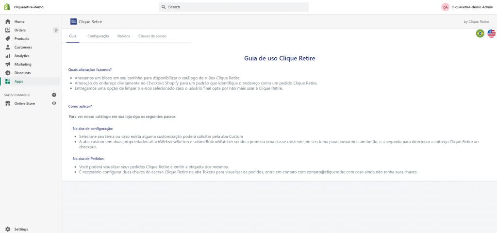 Clique Retire Shopify Guia de Uso