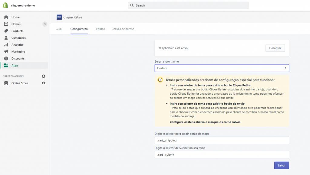 Clique Retire Shopify Chaves API Salvar